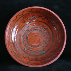 extra large redware serving bowl