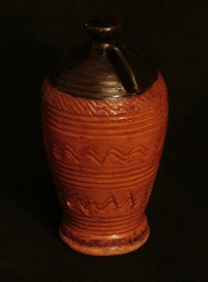 incised redware bank