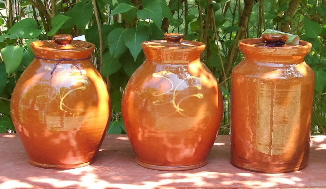 large redware jars