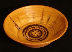 large redware serving bowl with feathering