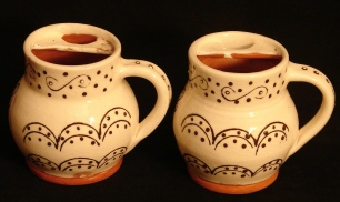 left handed redware mugs, back