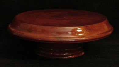 redware cake stand with spangles