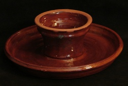 redware chip and dip platter with spangles
