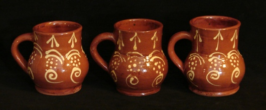 Devon mug, gold slip on red clay