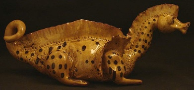 redware dragon with dots