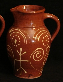 redware English Harlow pitcher, slip decorated, back