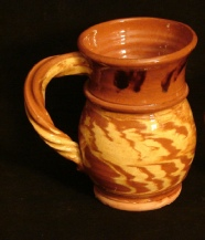 redware rope handled two-tone mug, front