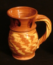 redware rope handled two-tone mug, back