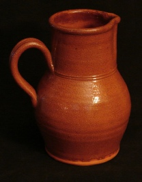 ruckled glazed pitcher, side
