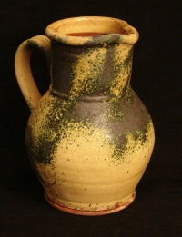 redware spangled gold pitcher, front