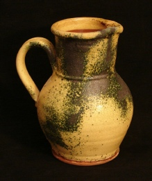 redware spangled gold pitcher, side