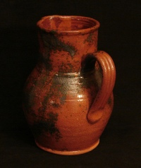 spangled redware pitcher back