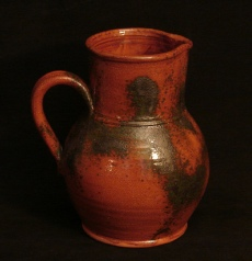 spangled redware pitcher side