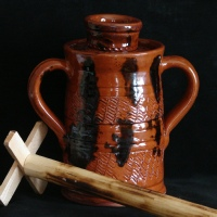 redware butter churn and wooden dasher